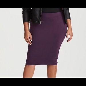 Torrid Purple Ponte Pencil Skirt NWOT